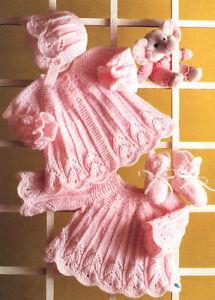 851d0c361 Knitting Pattern ~ Scalloped Swing Baby Matinee Coat Dress Bonnet ...