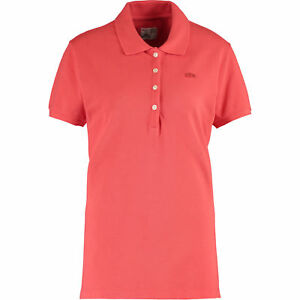 LACOSTE-Women-039-s-Coral-Vintage-Washed-Polo-Shirt-Large-FR-44