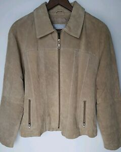 Wilsons-Maxima-Womens-Size-L-Large-Suede-Leather-Jacket-Tan-Beige-Brown-Blazer