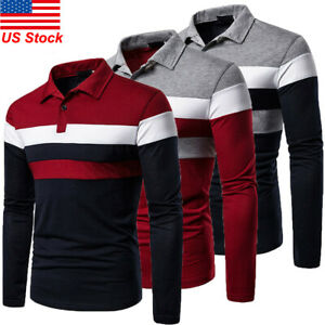 Men-039-s-Casual-Shirt-Golf-Sports-Cotton-Striped-T-Shirt-Jersey-Casual-Long-Sleeve