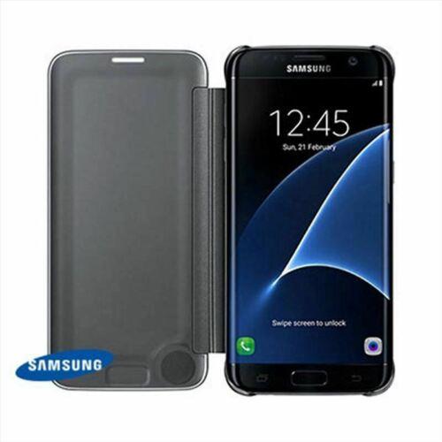 Genuine/Ufficiale Samsung Galaxy S7 Edge Clear View Custodia/Coperchio/WALLET Nero