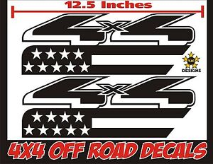 Set GLOSS BLACK 4x4 Truck Bed Decals F-150 etc. for Ford Super Duty F-250