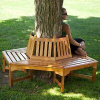 Wood Outdoor Hexagon Tree Bench Wrap Around Seat Cedar Garden Yard Yard Park
