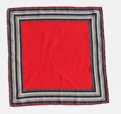 Vintage Red, Navy Blue, Silver, & Grey Hand-Rolled Printed Silk Pocket Square