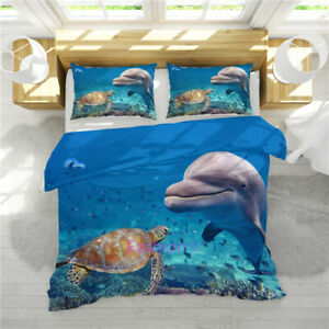 Dolphin Quilt Doona Duvet Covers Set Single//Queen//King All Size Bed Pillowcases
