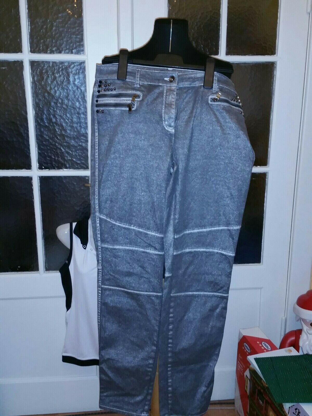 ❤ BiBA Traumhafte Jeans grau Silber Prägung Gr.42 neu ohne Etikett .