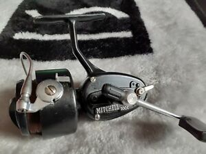 VINTAGE-MITCHELL-300-MANUAL-BAIL-FISHING-REEL-and-spare-spool-034-LOVELY-034-CONDITION