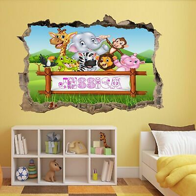 Soleggiato Jungle Animals Custom Personalised Kids Name Wall Sticker Mural Wallpaper Av15 Materiali Di Alta Qualità