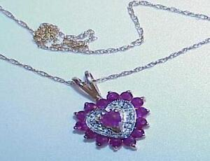14K-Heart-Ruby-Heart-Pendant-9-Diamond-Yellow-Gold-Necklace-Gorgeous-Lovey-Gift