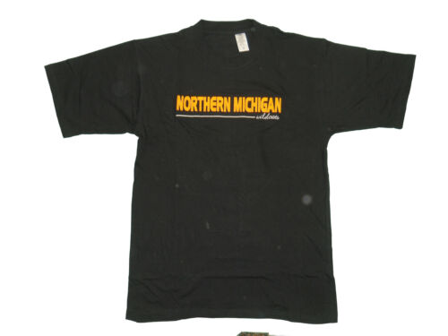 NORTHERN MICHIGAN WILDCATS ADULT BLACK EMBROIDERED SHORT SLEEVE T-SHIRT NEW