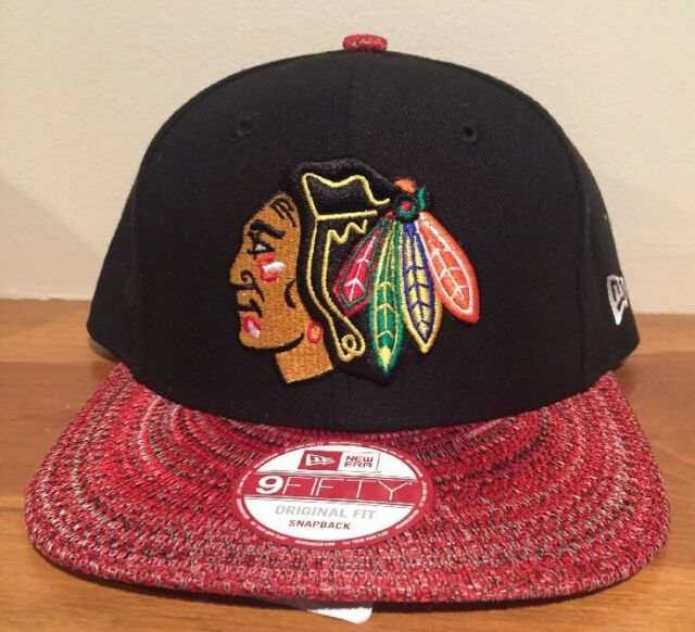 Chicago Blackhawks New Era 9FIFTY Snapback Hat NHL Cap Knit Brim Red Black 950