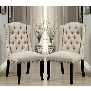 Image Is Loading Sania Elegant 2 Pcs Dining Side Chairs Tufted
