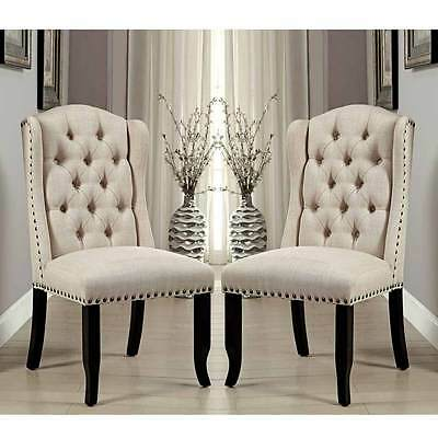 Sania Elegant 2 Pcs Dining Side Chairs Tufted Chair