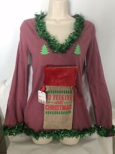 Wine Christmas Sweater.Details About Ugly Christmas Sweater Naughty No Peeking Until Christmas Wine Holder Pink Sz M