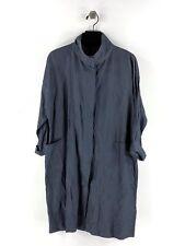 1918c Eileen Fisher Denim Stand Collar Coat Women's Sz XS