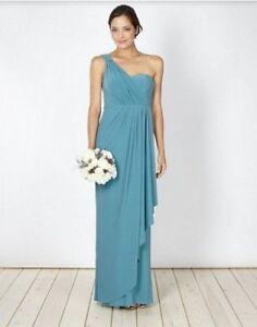 One Shoulder Bridesmaid Dresses Blue Turquoise