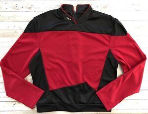 Star Trek TNG Uniform Cosplay Red Shirt Top Starfleet Halloween Costume L Pips