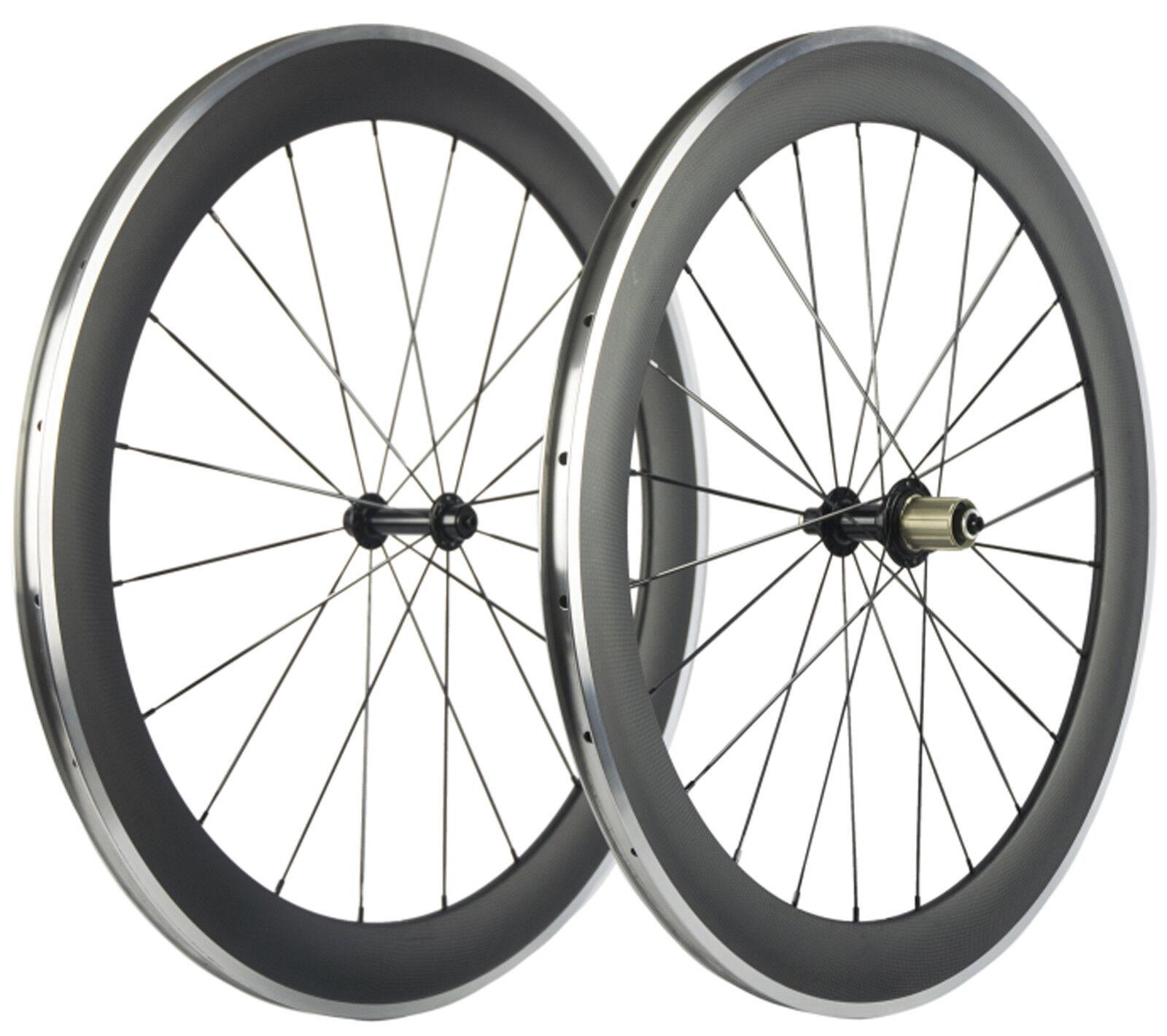60mm Road Bike Wheelset Full Carbon 700C Clincher Alumunum Brake Bicycle Wheels