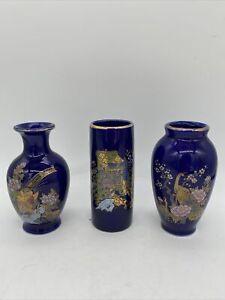 VTG Cobalt Blue Vase Pheasant Peacock Flower Carriage Gold  Kutani Style (3pcs)