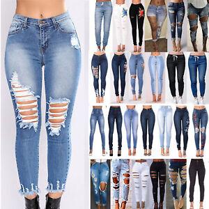 65a20decf8835a Das Bild wird geladen Damen-Jeans-Zerrissen-Destroyed-Denim-Hose-Skinny- Roehrenjeans-