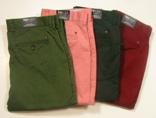 Choose 1 Tommy Hilfiger Men/'s TH Flex Custom Fit Chino Pants 4 Colors