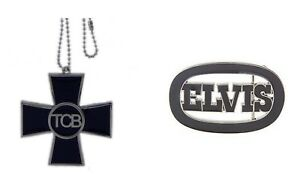 Elvis Presley Belt Buckle & Chopper Necklace Pendant King of Rock Roll Music New
