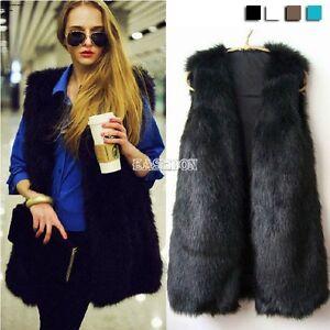 Faux-Fur-Body-Women-Lady-Vest-Waistcoat-Gilet-Sleeveless-Warmer-Jacket-Black-Hot