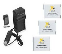 Three 3x Np-bn1 Batteries + Charger For Sony Wx100 Wx150 Wx200 Wx60 Wx70 Wx80