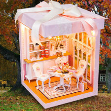 New DIY Wooden Miniature Dollhouse With LED Furniture Cover Doll House Room Gift