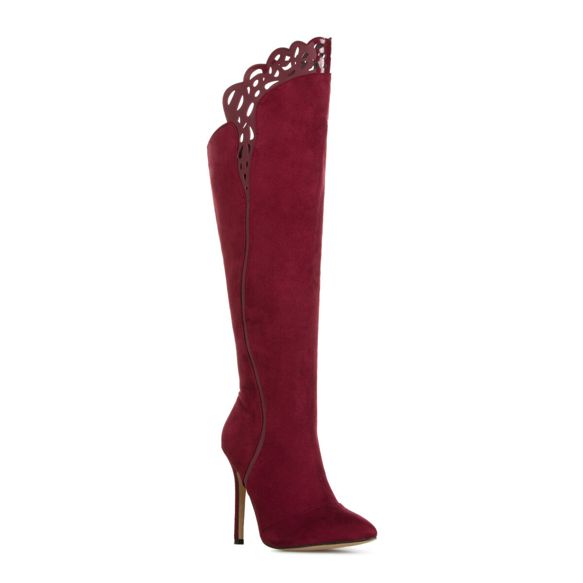 Wine / Burgundy Perforated Top Stiletto Heel Knee High Boots, US 10