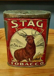 Rare 1 oz Size VTG Stag Tobacco Pocket Tin 1910 Tax Label Lorillard Jersey City