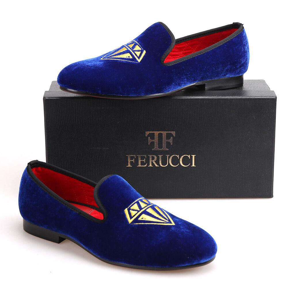 Handmade FERUCCI Men bluee Velvet Slippers loafers with Diamond