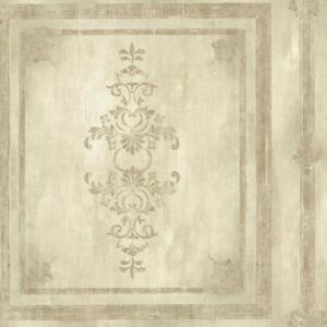 Wallpaper-Designer-Faux-Wood-Architectural-Block-Panel-Cream-Beige-Metallic-Gold