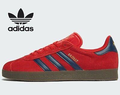 ⚫ 2020 Adidas Original Gazelle en cuir et daim ® (Hommes Tailles UK: 7 11) Rouge Bleu Marine | eBay