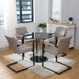 e1c3b7d77f Details about Grey Faux Leather Dining Chairs Kitchen 2-4 Seater Round  Glass Dining Table Set