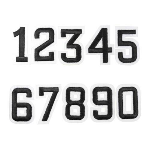 31-53x80mm schwarz Applikation Aufnäher Zahlen Ziffern Zahl Aufbügler