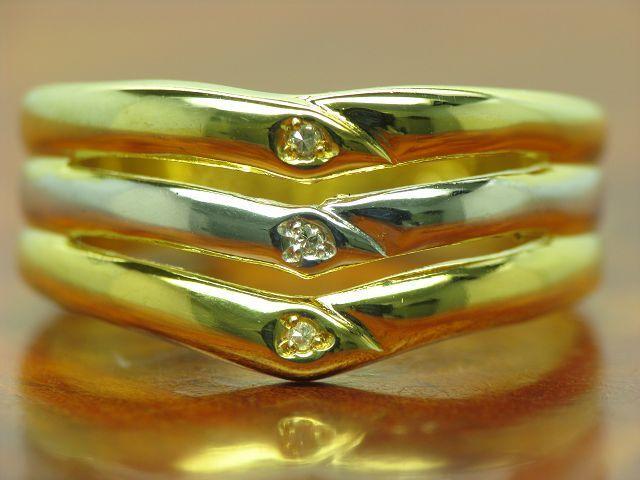8kt 8kt 8kt 333 giallo oro ANELLO con guarnizione in diamante anello di tre 2 4g RG 57 d8a0a8