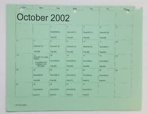 DAWSON-039-S-CREEK-set-used-paperwork-PRODUCTION-CALENDAR-schedule-page-Oct-2002