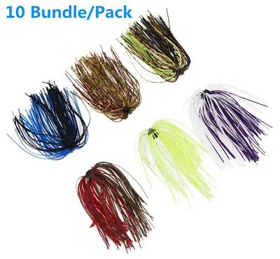 10Bundle Silicone Fishing Skirt Rubber Spinner Bait Bass Jig Lure Fishing
