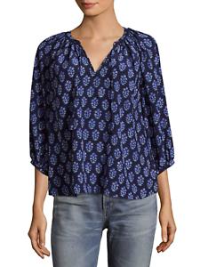 Rebecca Taylor Valentina Print Silk Peasant Blouse, Größe 2