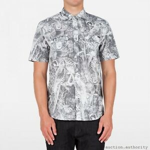 VOLCOM-STONE-POLLY-SS-Button-Up-Short-Sleeve-Slim-Fit-Gray-White-Mens-NWT-NEW