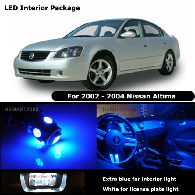 9pcs Blue Led Interior Bulbs For Nissan 2002 2004 Altima White For