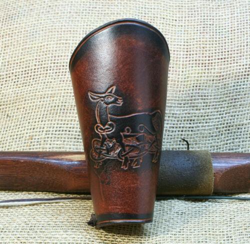 Remontant Cuir Marron Celtique Chevreuil Brassard Celtes de Bow Traditionell