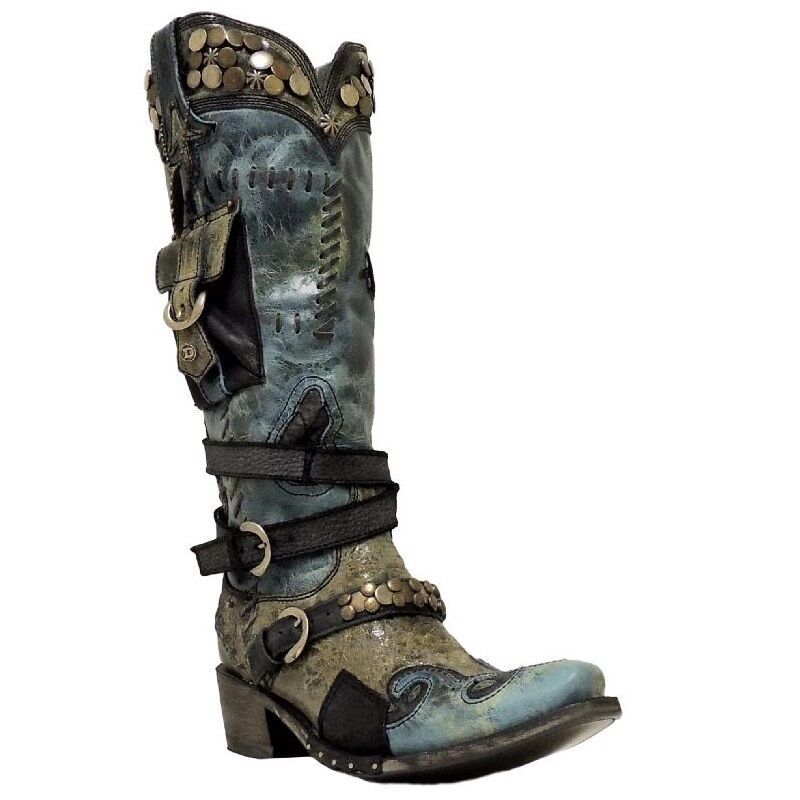 Double D Ranch by Lane Ladies Black/Navy Frontier Trapper Boot DD9004B