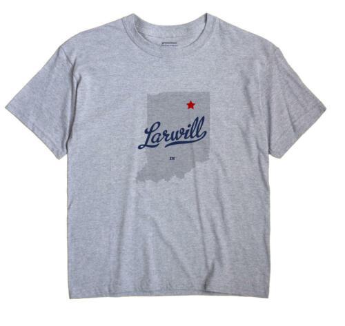 Larwill Indiana IN T-Shirt Souvenir MAP