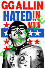 GG ALLIN VINYL STICKER HATED NATION AMERICA PUNK ROCK CULT MURDER JUNKIES USA