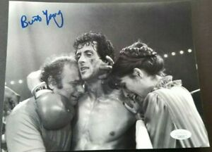 Burt-Young-Paulie-signed-8x10-photo-with-Rocky-and-Adrian-JSA-coa