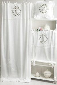 ELVIRA-CAPPUCCINO-BESTICKT-Gardine-2x-145x250cm-Vorhang-Romantik-Shabby-Franske