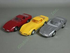 3-Vtg-1980-1984-Chevrolet-Corvette-Plastic-Dealer-Promo-Cars-Silver-Yellow-Red