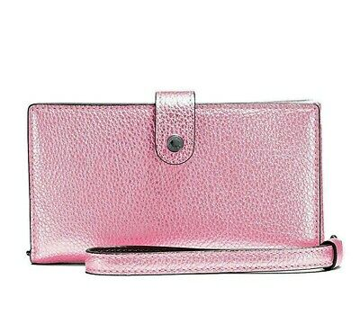 NWT COACH METALLIC PEBBLED LEATHER BLUSH PINK PHONE WRISTLET CLUTCH PURSE 23527